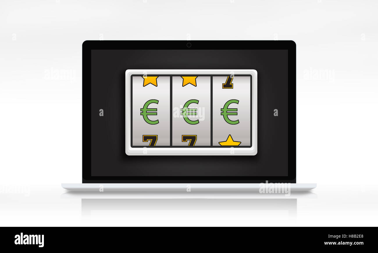 Lotto Slot Machine Jackpot Win Concept - Stock Image