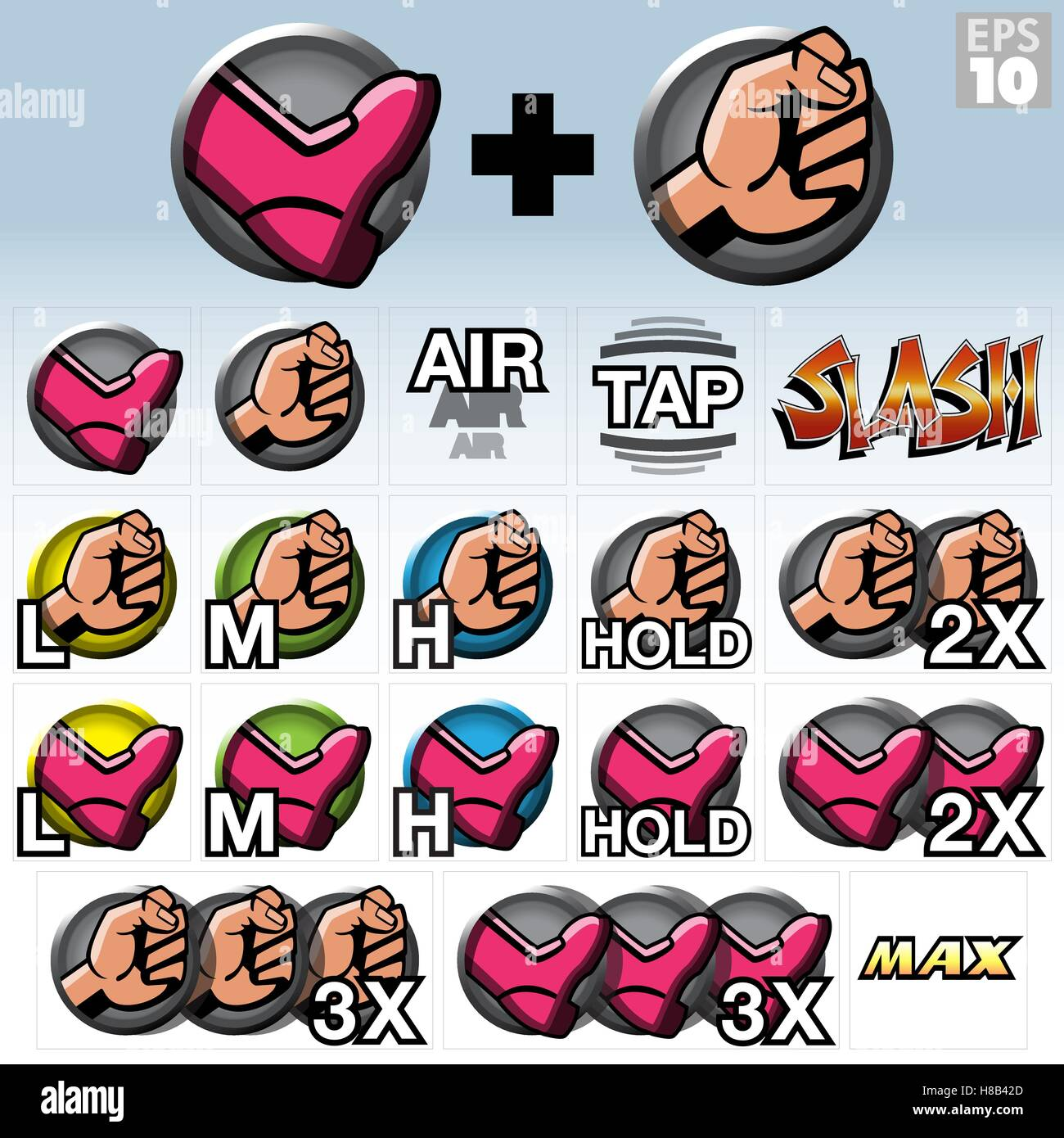 Arcade Video Game Fighting Style Icons, Kick, Punch and Slash Moves - Stock Vector