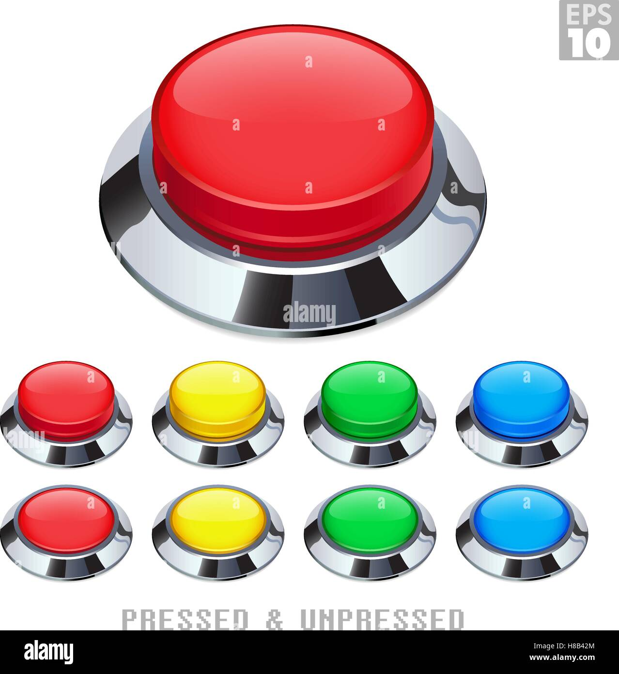 Arcade Push Buttons With Chrome Bezel Pressed and Unpressed Various Colors - Stock Vector