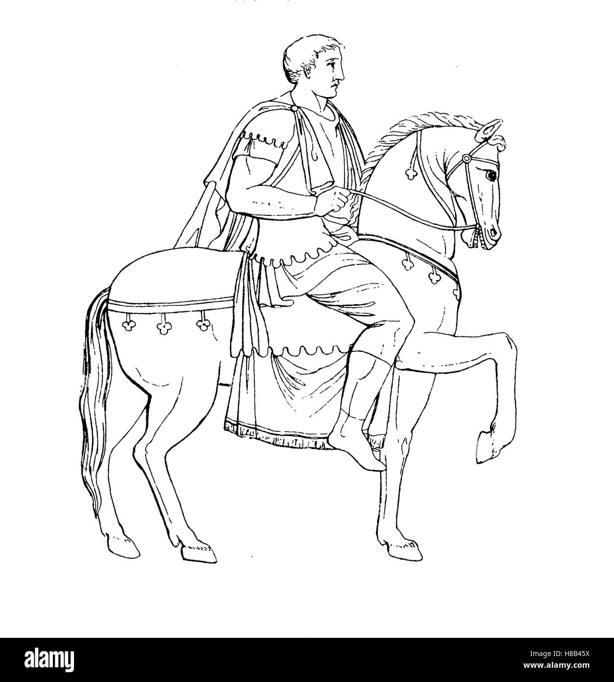 Antique Rome, Roman rider with Lorica and Sagum, riding coat, History of fashion, costume story - Stock Image