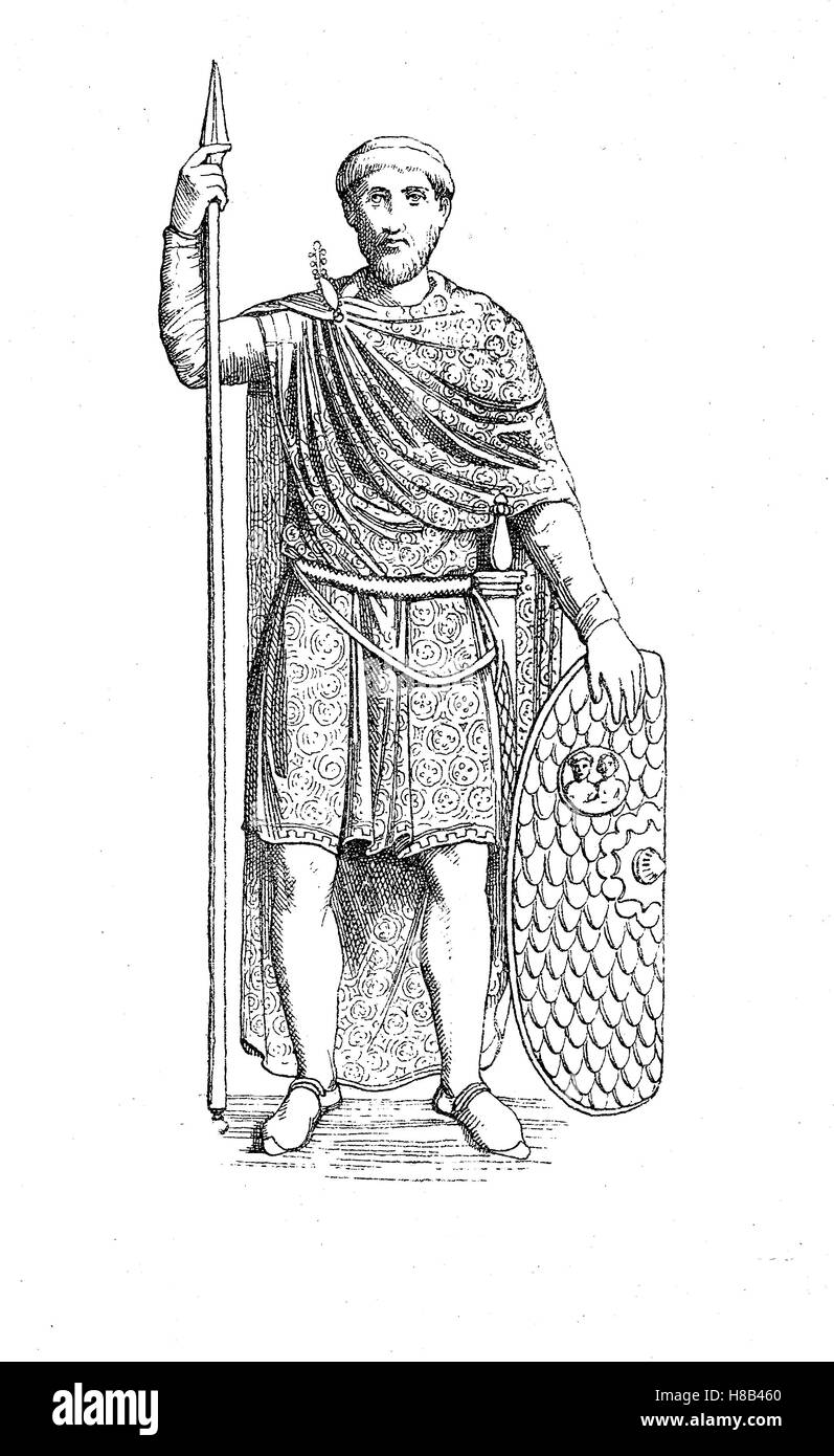 Imperial Aetius, fifth century, in a late Roman costume with patterned fabric, History of fashion, costume story Stock Photo