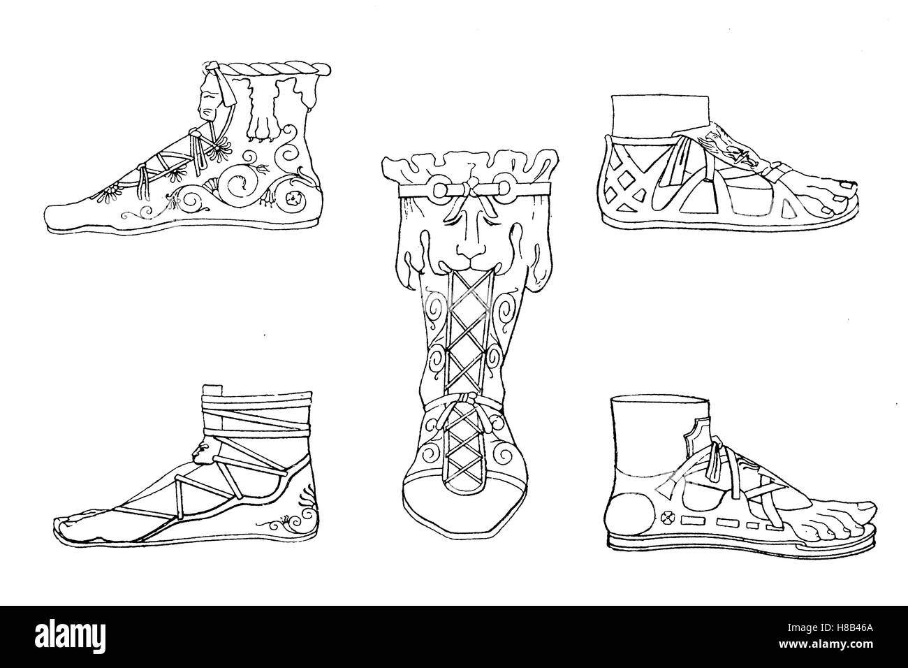 Roman shoemaker of antiquity, in the time of Emperor Constantine, History of fashion, costume story - Stock Image