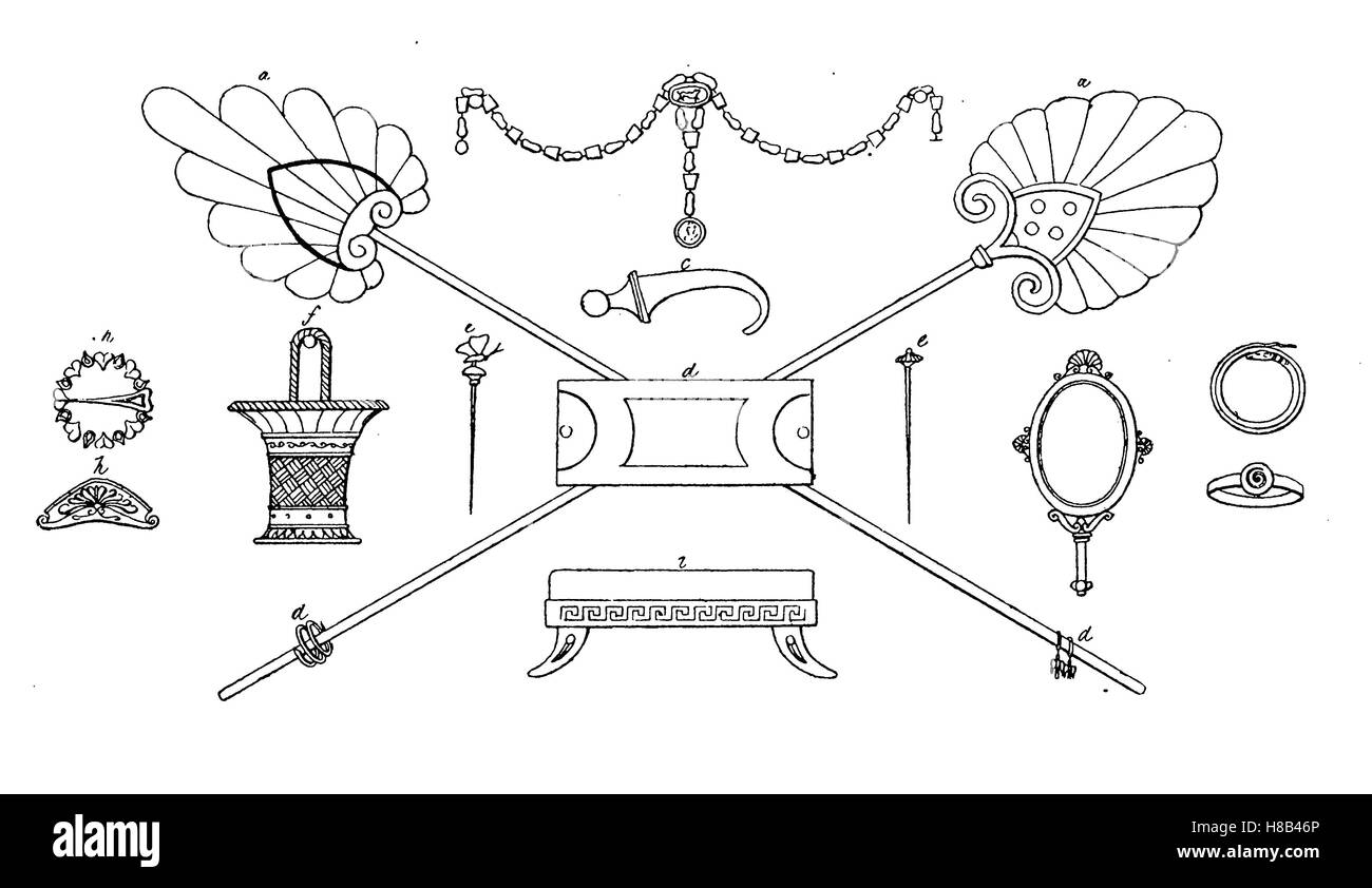 Greece, Antique jewelery and ornaments, fan mirrors, rings, jewelery boxes, according to vase paintings, History - Stock Image