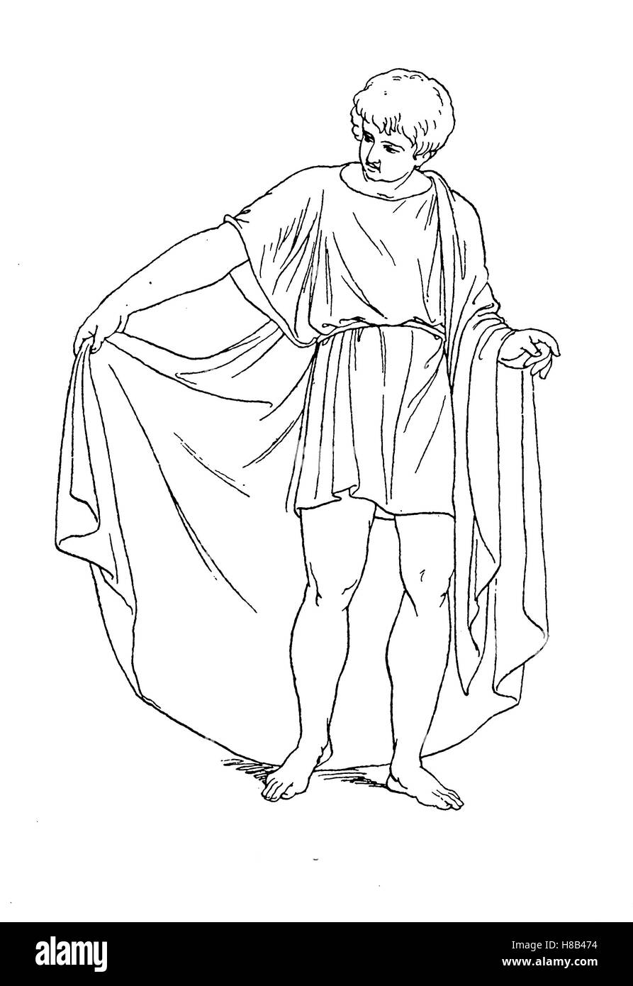 Greece, man's costume, short Chiton and Himation, History of fashion, costume story - Stock Image