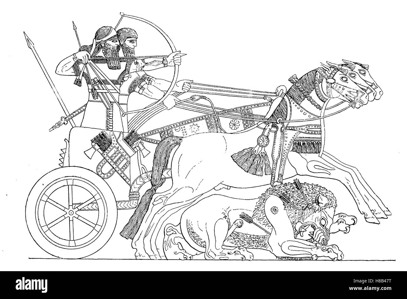 Assyrian lion hunting, wagon and weapons, History of fashion, costume story - Stock Image