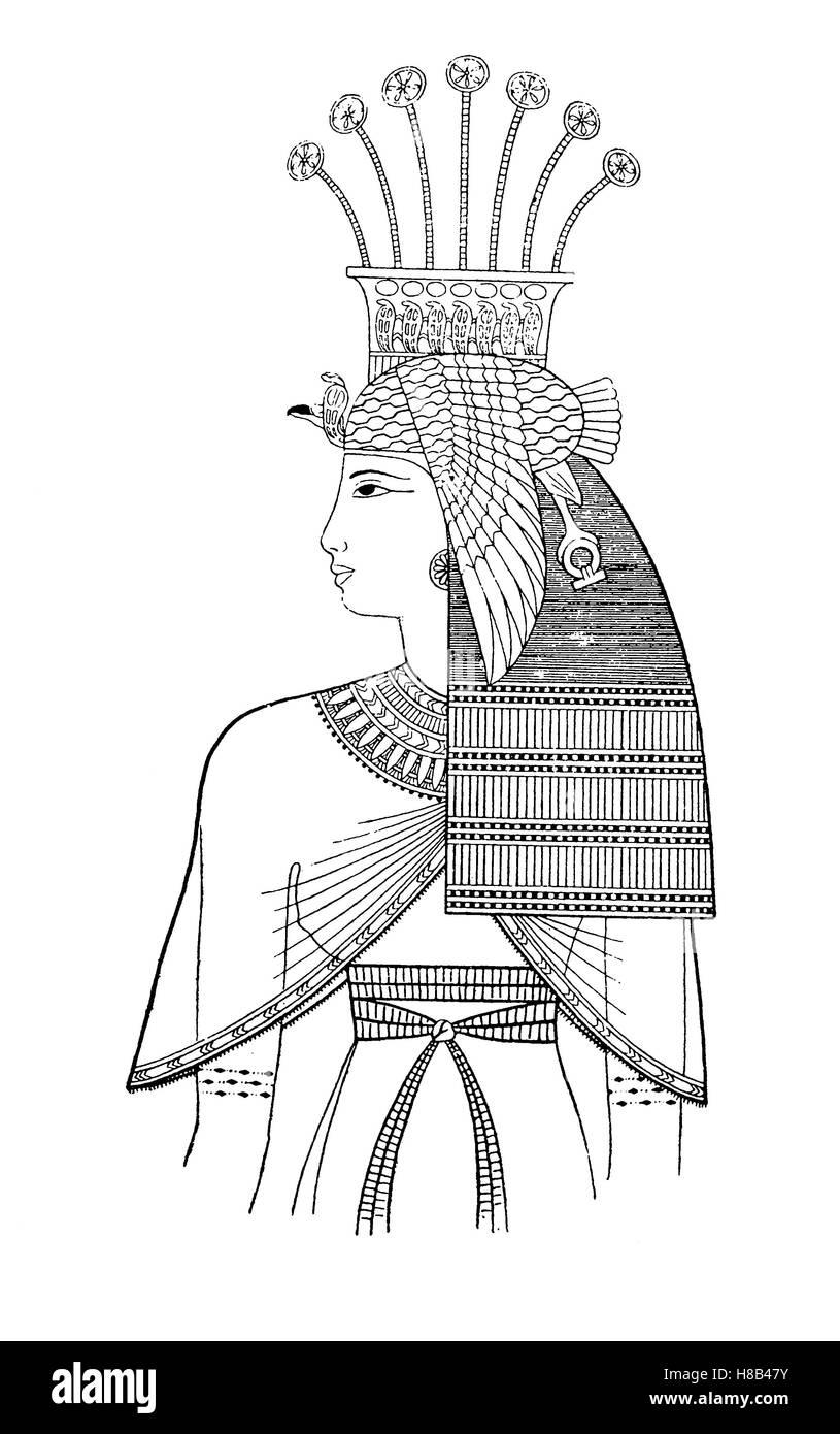 King Reto, daughter of Pharaoh Ramses II, Egypt, 19th Dynasty, History of fashion, costume story - Stock Image