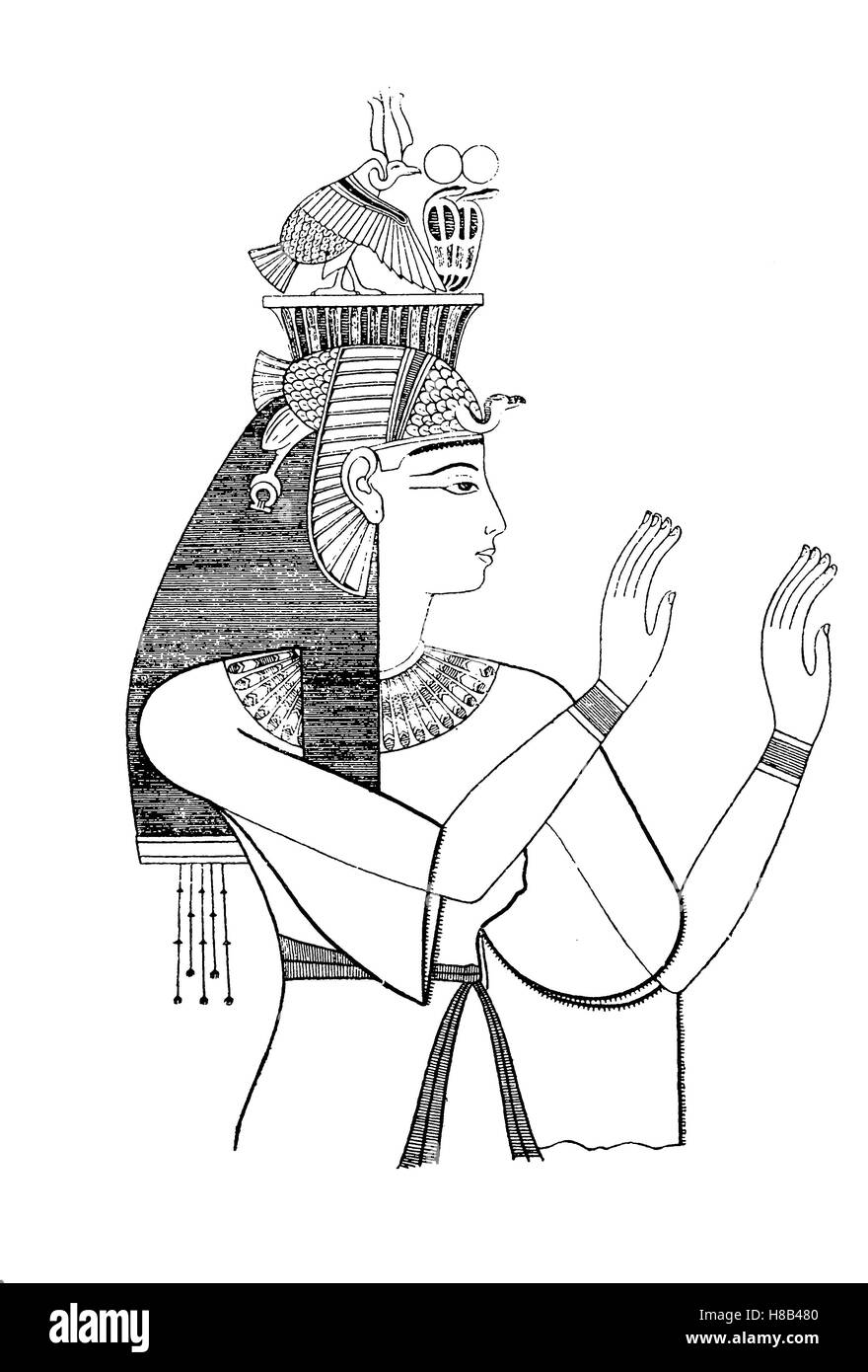 Queen Tala, wife of Pharaoh Amenophis III, 18th Dynasty, History of fashion, costume story - Stock Image