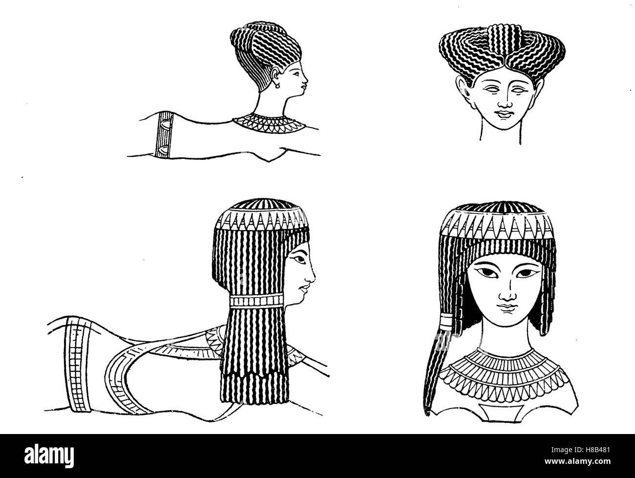 ladies' hairstyles in ancient egypt, ca 1200 bc, after finding on