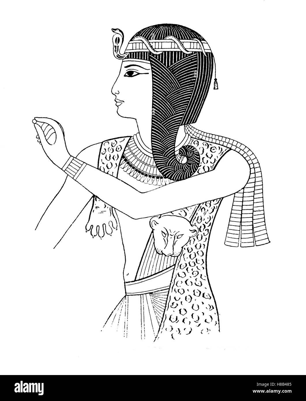 Pharaoh Ramses II, 19th Dynasty, Egypt, here with Uraeussnake, History of fashion, costume story - Stock Image