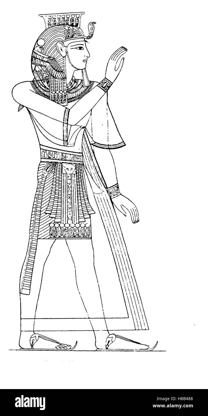 King Ramses III, 20th Dynasty, Egypt, in royal costume, History of fashion, costume story - Stock Image