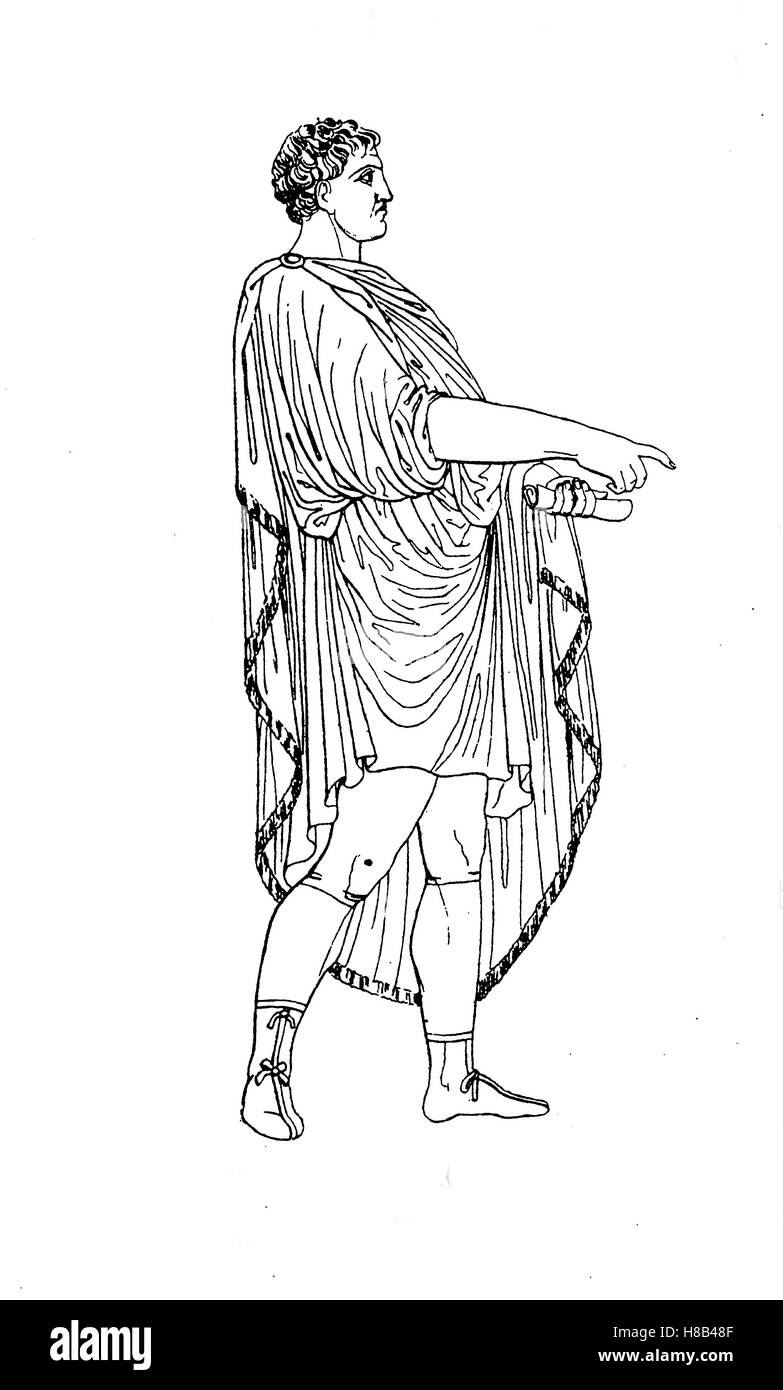Roman emperor with tunic and lacerna coat, History of fashion, costume story - Stock Image