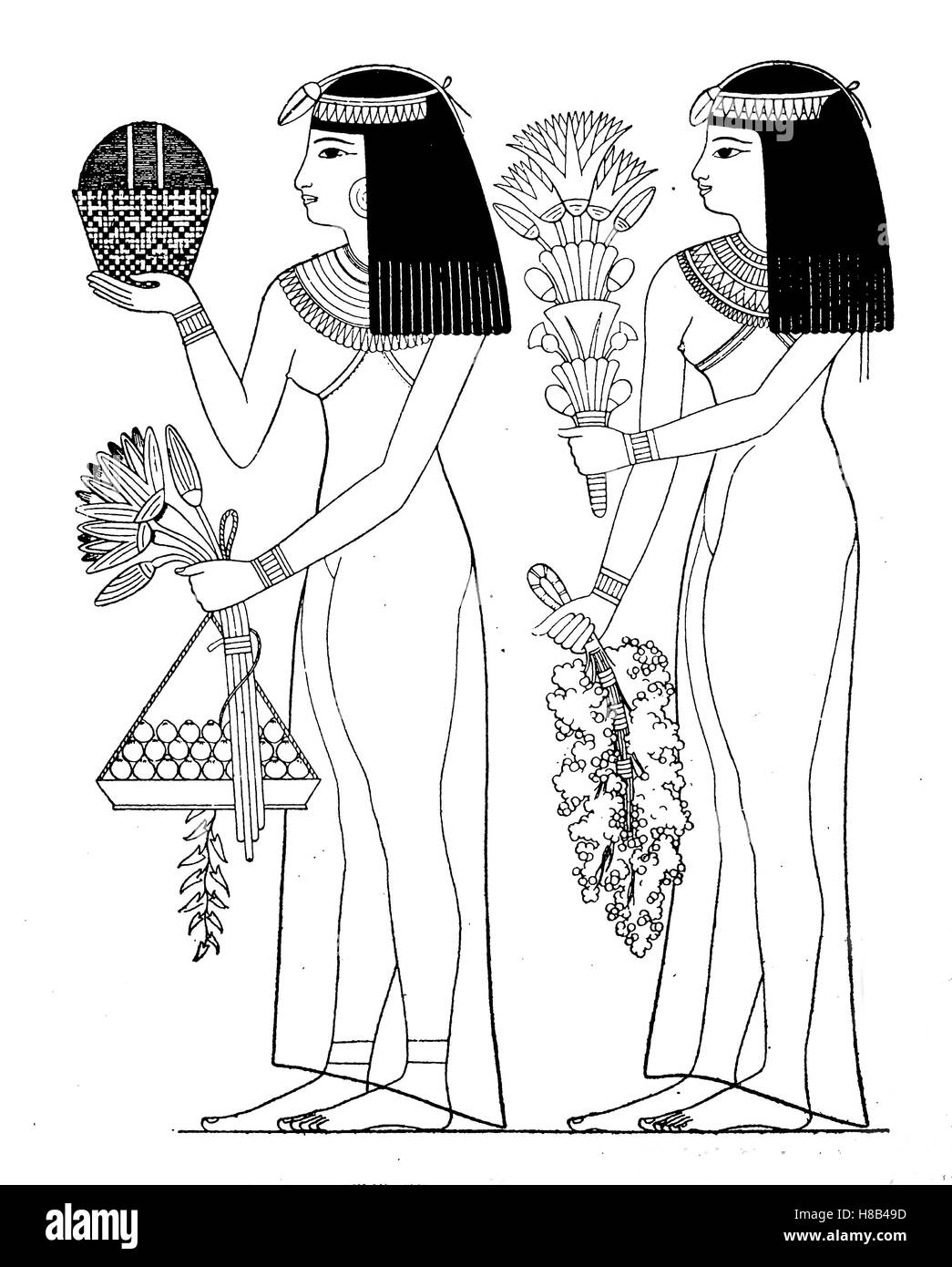 ancient egypt, Woman bring the gods flowers and fruits, 10th dynasty, Thebes, History of fashion, costume story - Stock Image