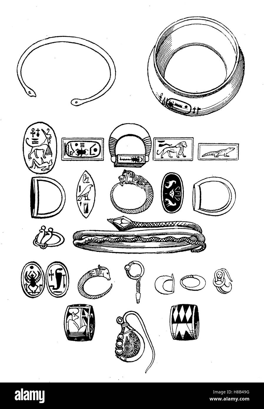 ancient egypt, Jewelery, bracelets, rings, earrings, 18th dynasty, History of fashion, costume story - Stock Image