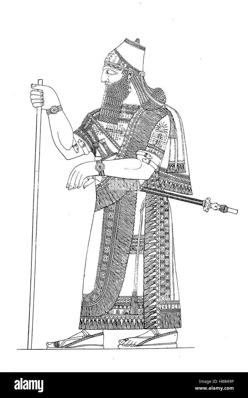 Assyrian king in full regalia, History of fashion, costume story - Stock Image