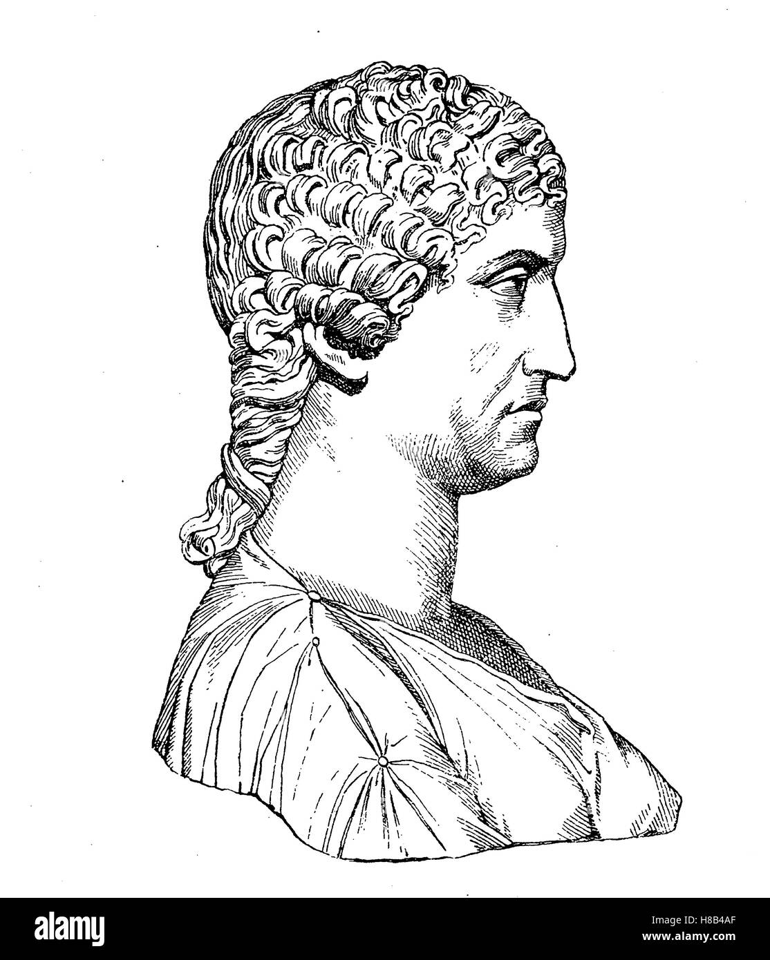 Agrippina the young, consort of the Roman Emperor Claudius, History of fashion, costume story - Stock Image