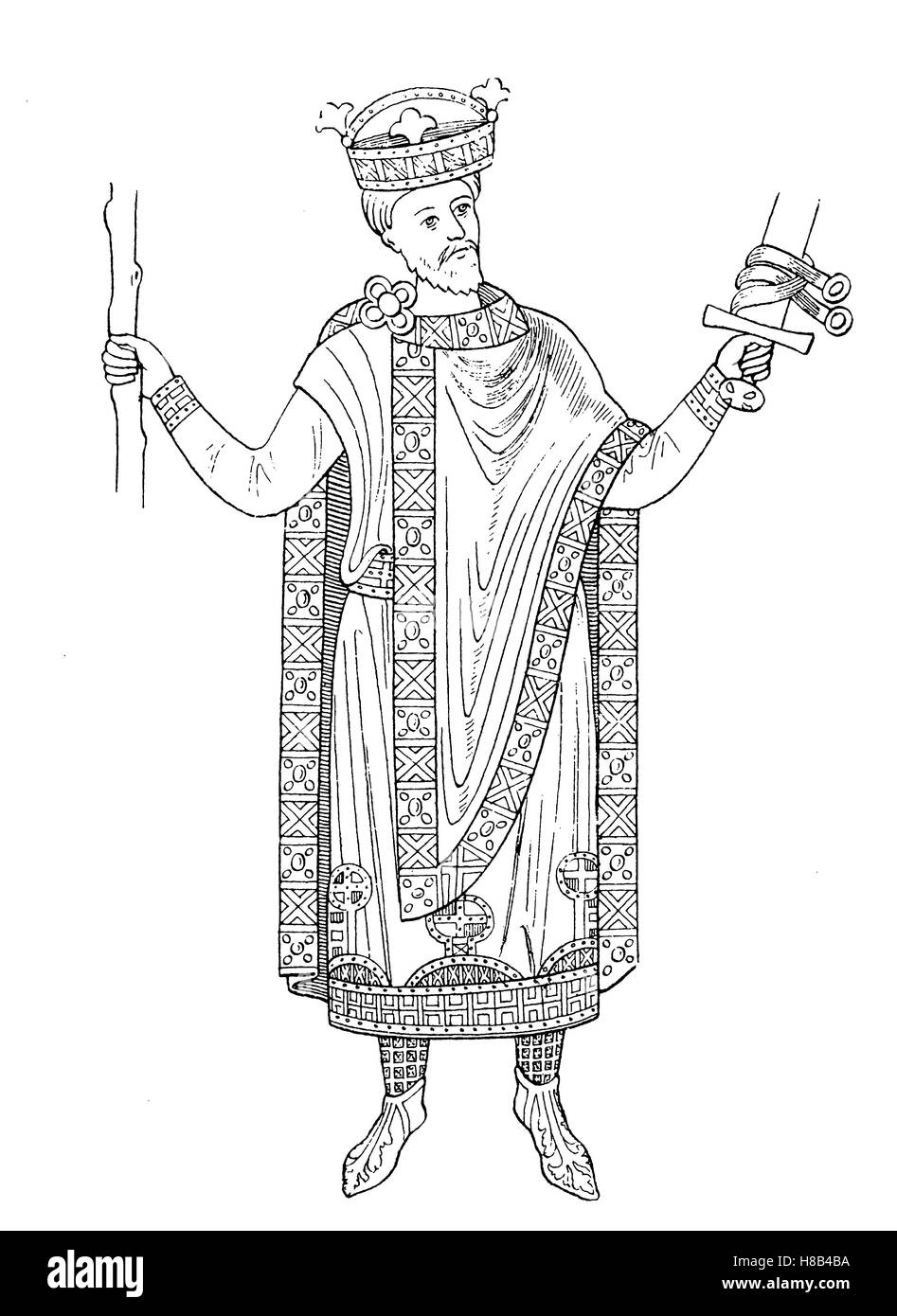 Emperor Henry II., In 1014, History of fashion, costume story - Stock Image