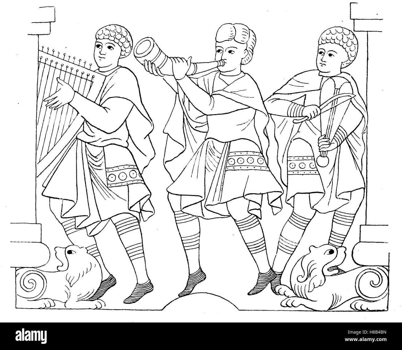 German men in folk costume in the year 1000 , History of fashion, costume story - Stock Image