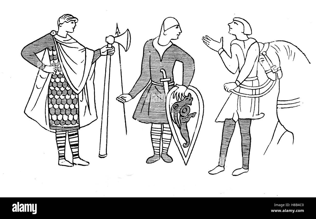 Norman from the realm William the Conqueror, 1066, History of fashion, costume story - Stock Image