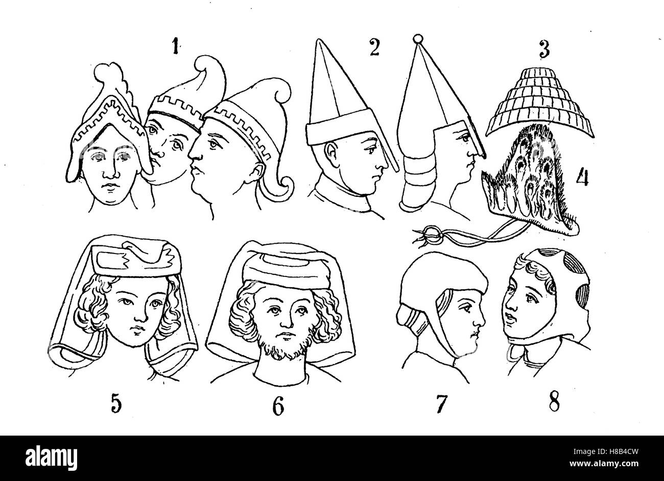 Male headpieces from the 9th - 13th Century. 1 Freemasonry helmets of the Carolingian period, 2 Norman helmets 11th - Stock Image