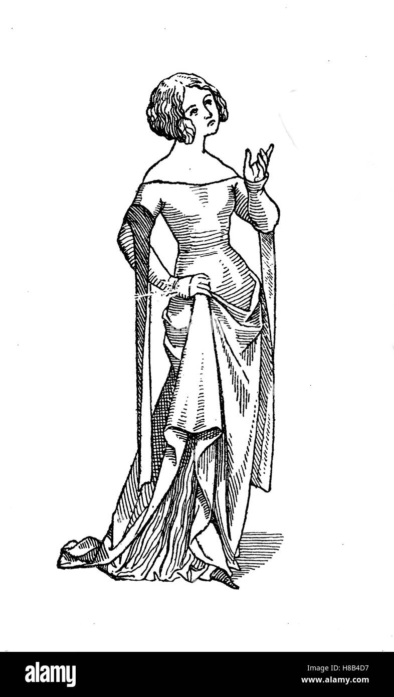 woman with tight costume des 14. century, Paris, History of fashion, costume story - Stock Image