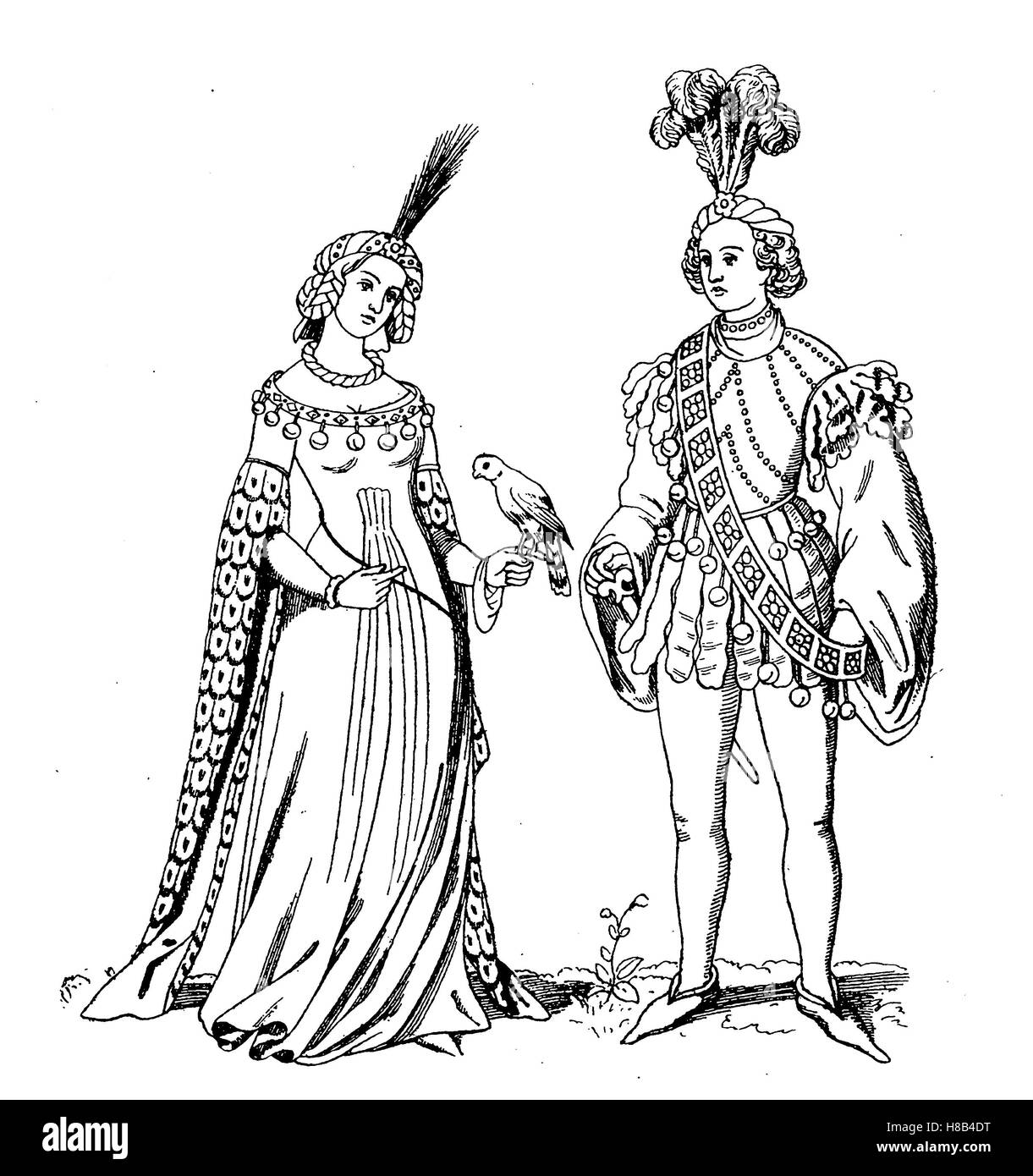 Man and lady in Schellentracht, 1st half of the 15. century, Germany, History of fashion, costume story - Stock Image