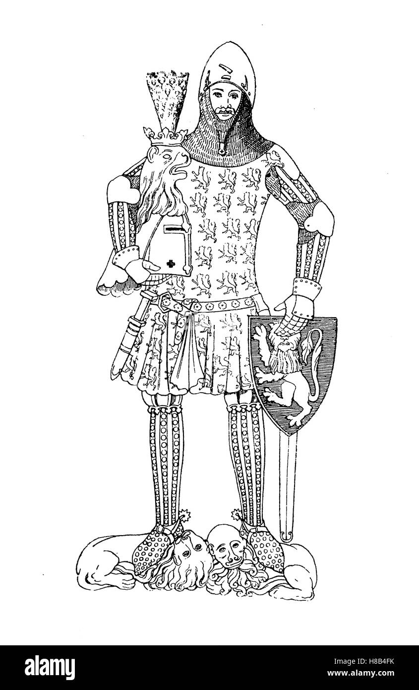 Body armor or Body armour with Waffenrock, Koenig Guenther von Schwarzburg, 14. century, History of fashion, costume - Stock Image