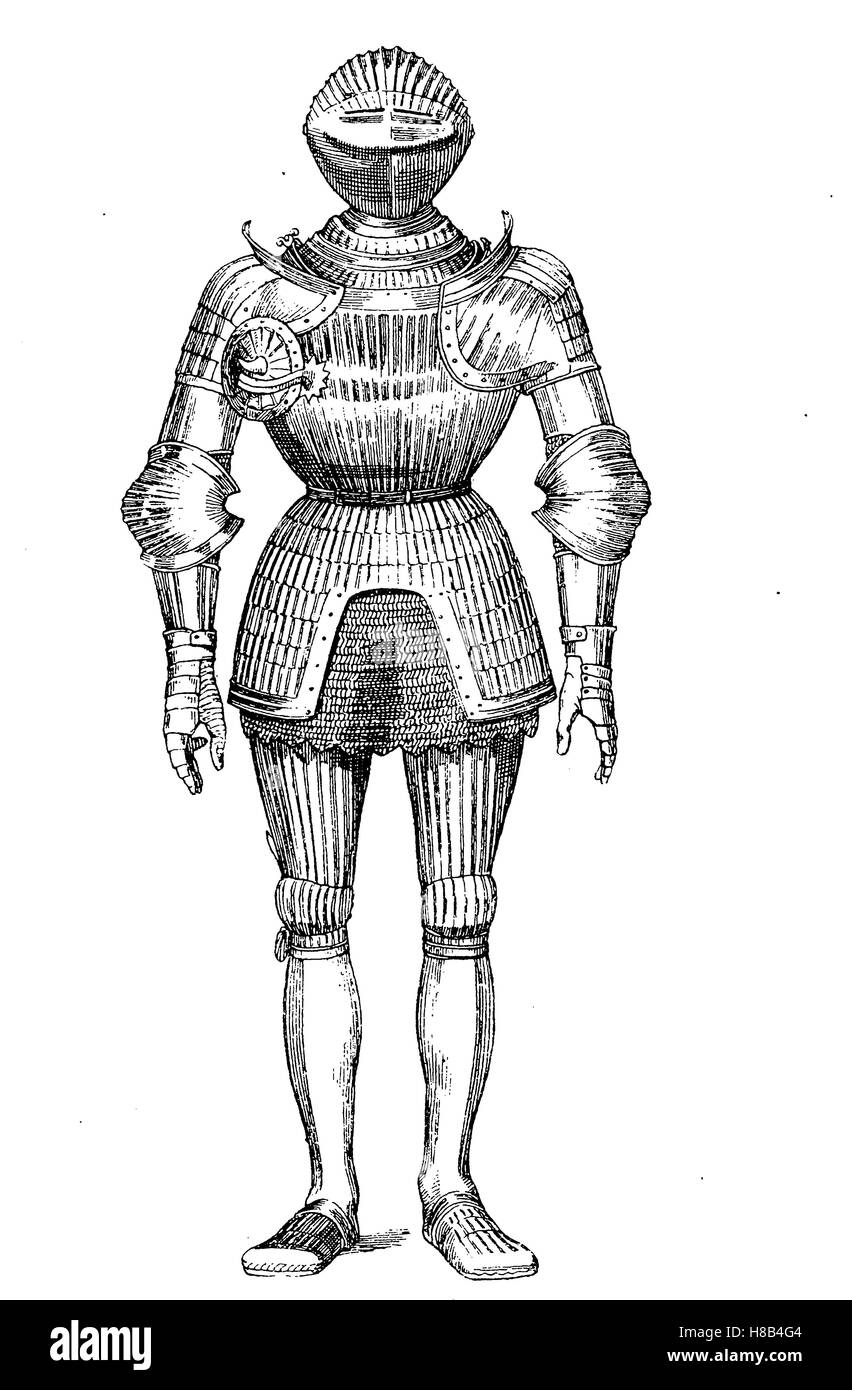 knight, complete Plate armour in the year 1500, History of fashion, costume story - Stock Image