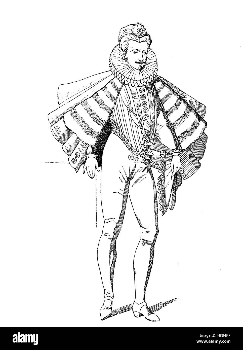 Henry III of France, wearing a costume of the Les Mignons, History of fashion, costume story - Stock Image