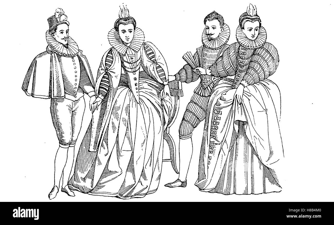 french men of the Les Mignons, and noble lady of the time of  Henry III of France, History of fashion, costume story - Stock Image