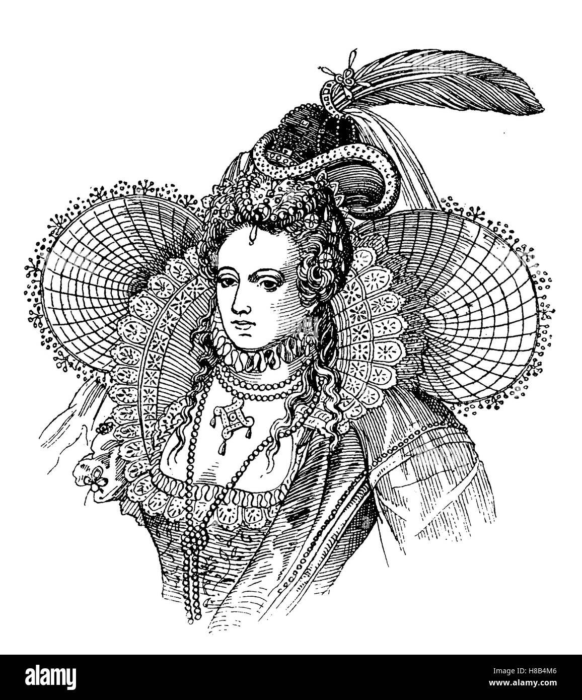 Elizabeth I of England, 1590, History of fashion, costume story - Stock Image