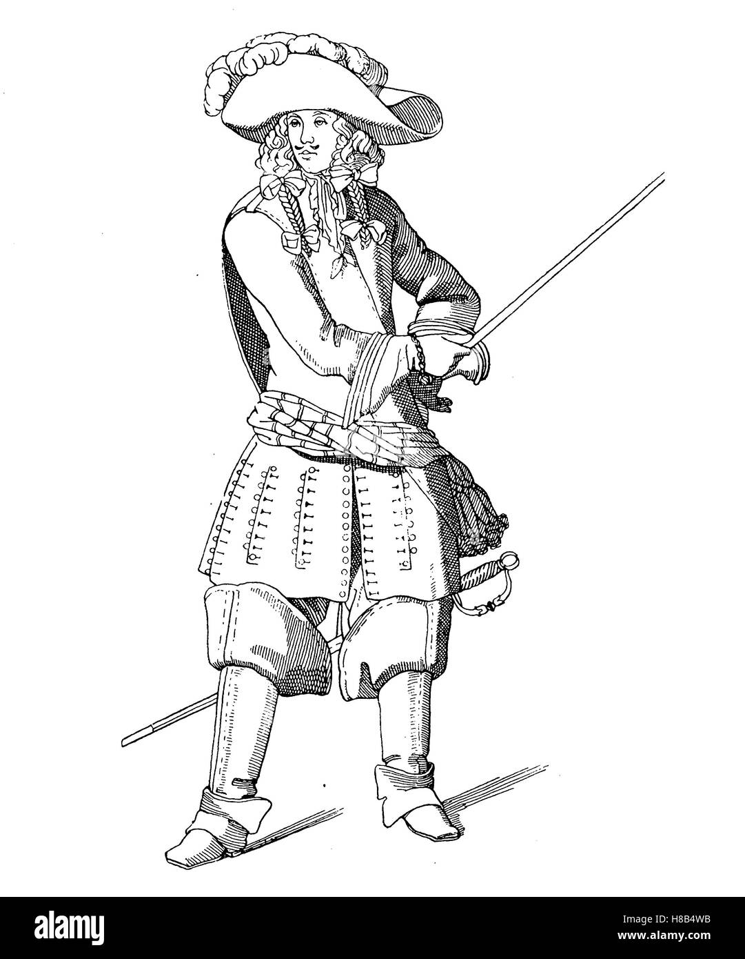 gendarmerie officer at the time of Louis XIV., 1675, france, History of fashion, costume story - Stock Image