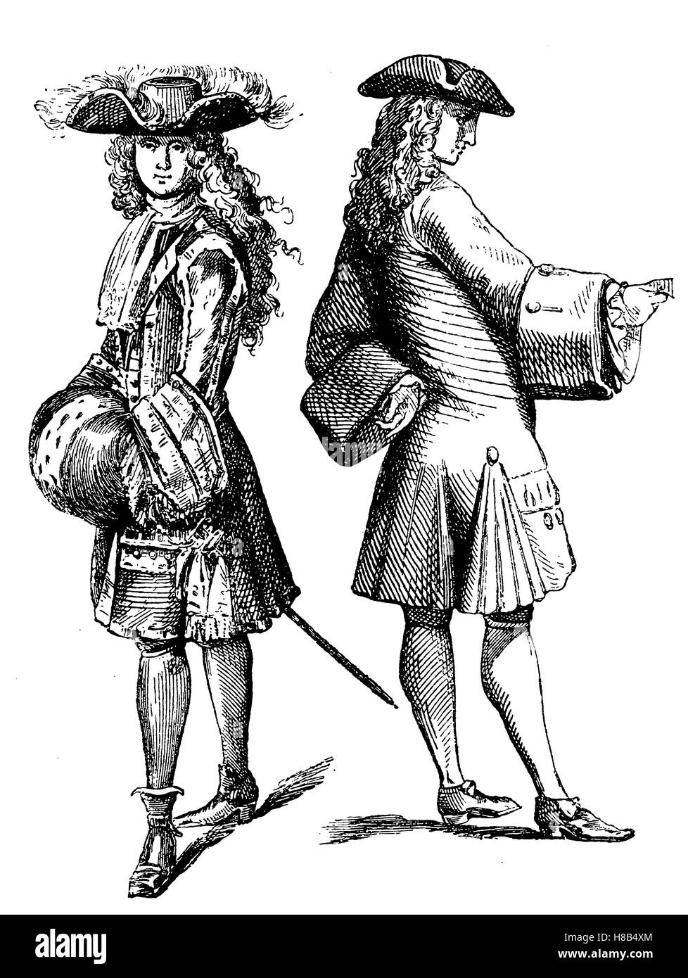 noble costume in the year 1693 (left), burgess costume in the year 1710 (right), france, History of fashion, costume - Stock Image