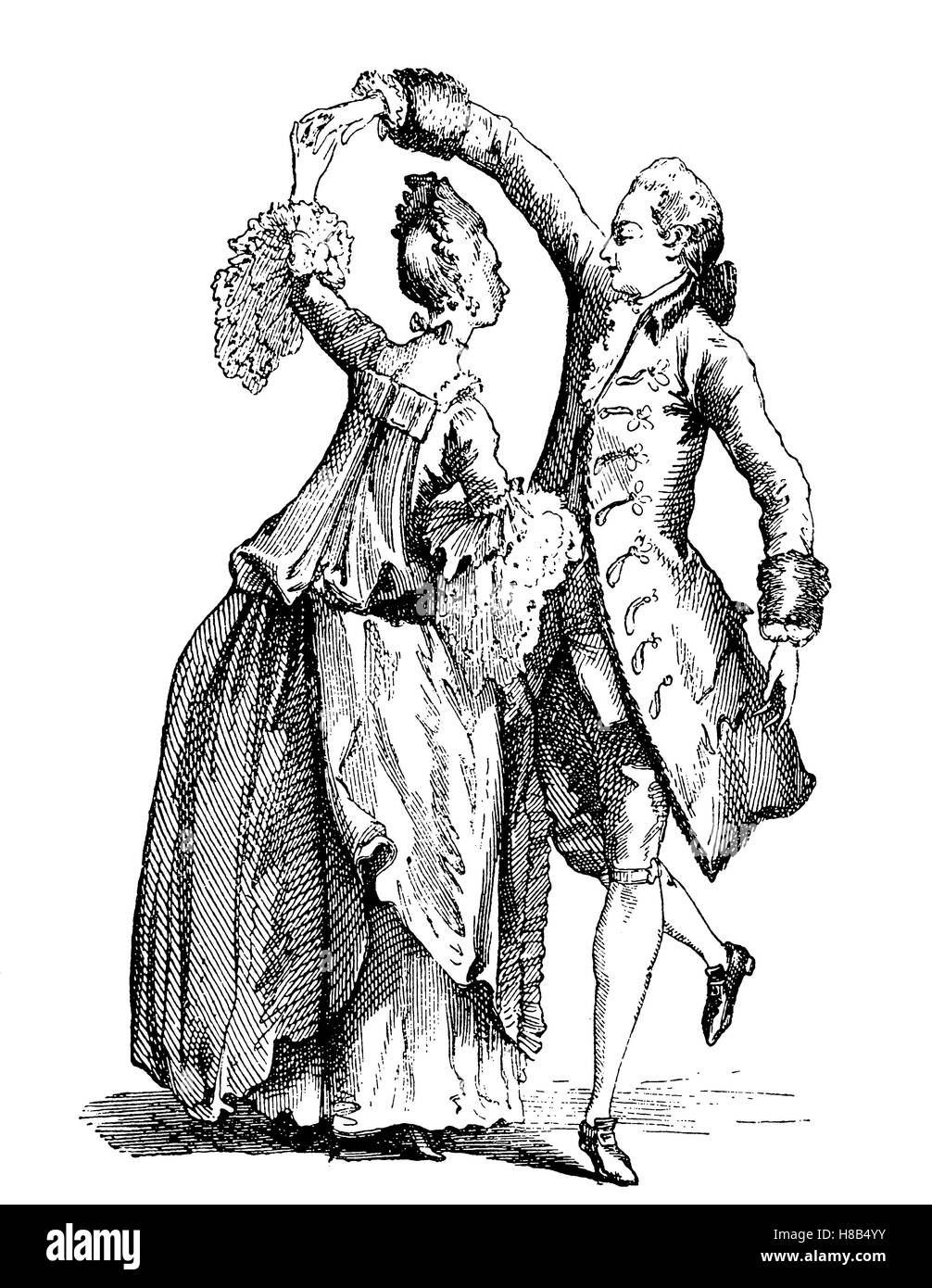 man's and woman's costume in the year 1762, dancing couple, france, History of fashion, costume story - Stock Image
