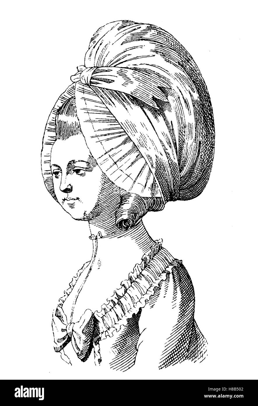 head of a lady with a Dormeuse, woman from Paris at the beginning of the revolution, History of fashion, costume - Stock Image