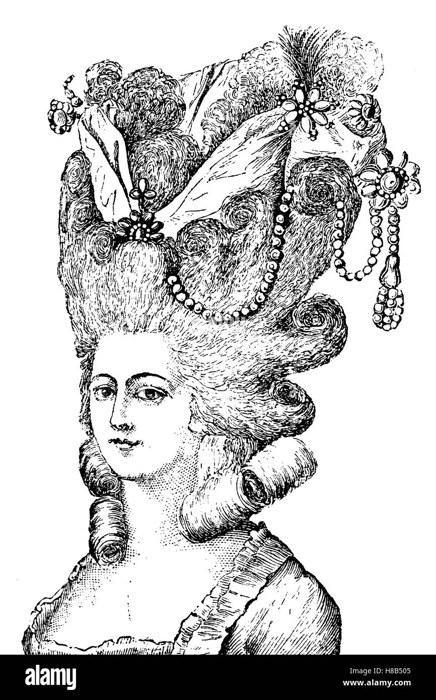 lady with hairstyle Coiffuere en bandeau d' amour, 1790, france, History of fashion, costume story - Stock Image