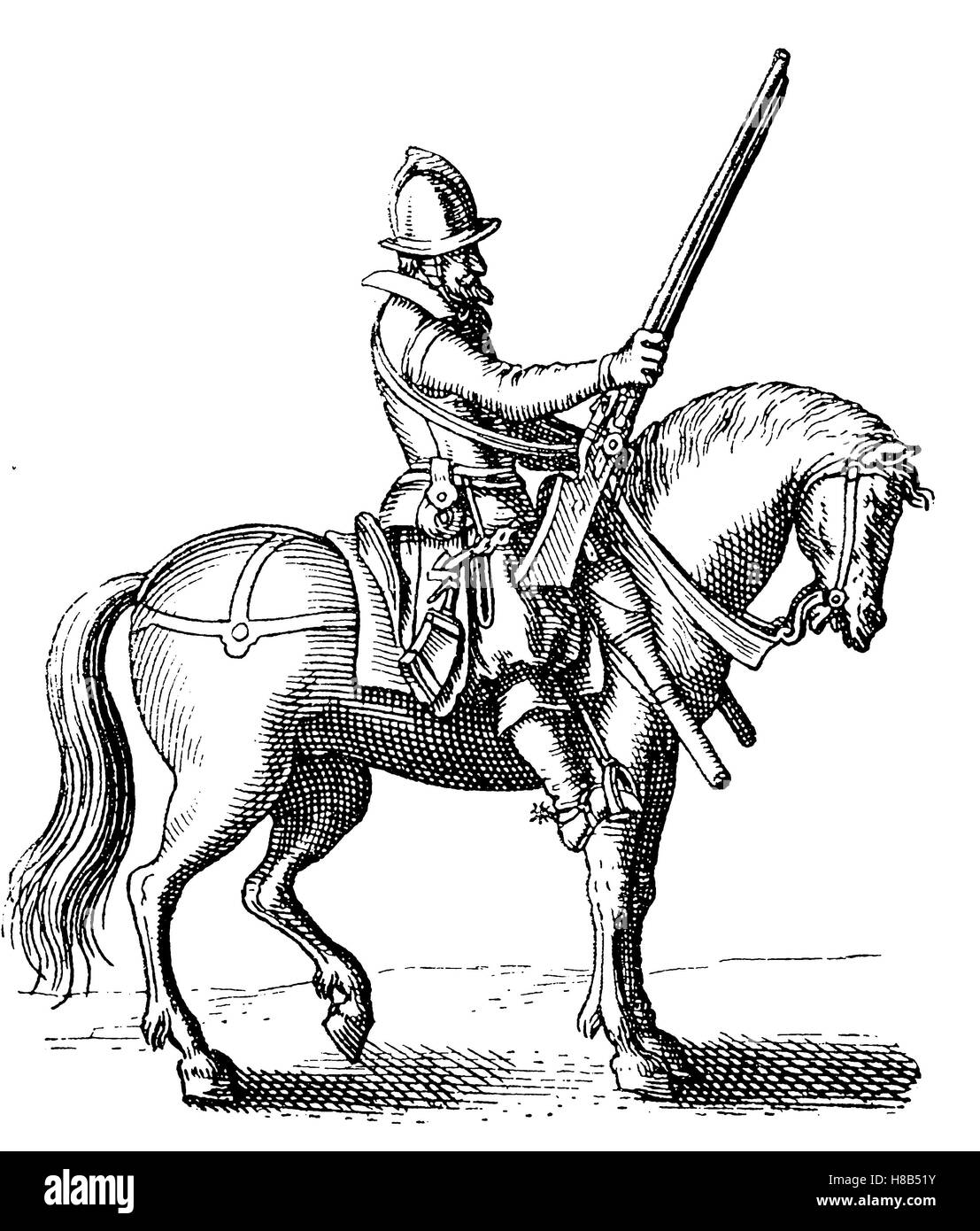 The harquebusier was the most common form of cavalry found throughout Western Europe during the early and mid 17th - Stock Image