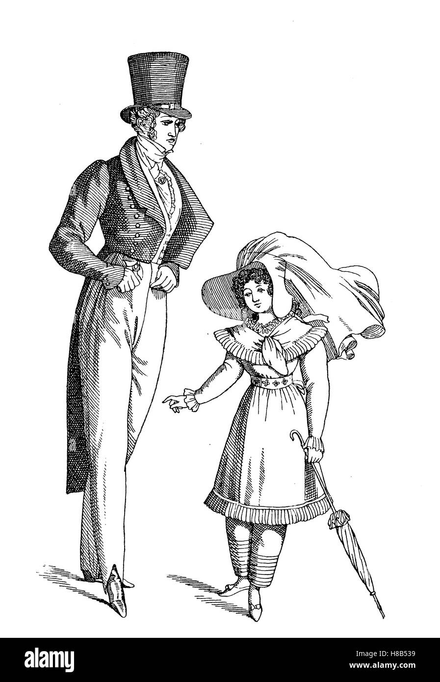 Man und girl, 1821, france, Mann with Nankinghose, Tagestracht, History of fashion, costume story - Stock Image