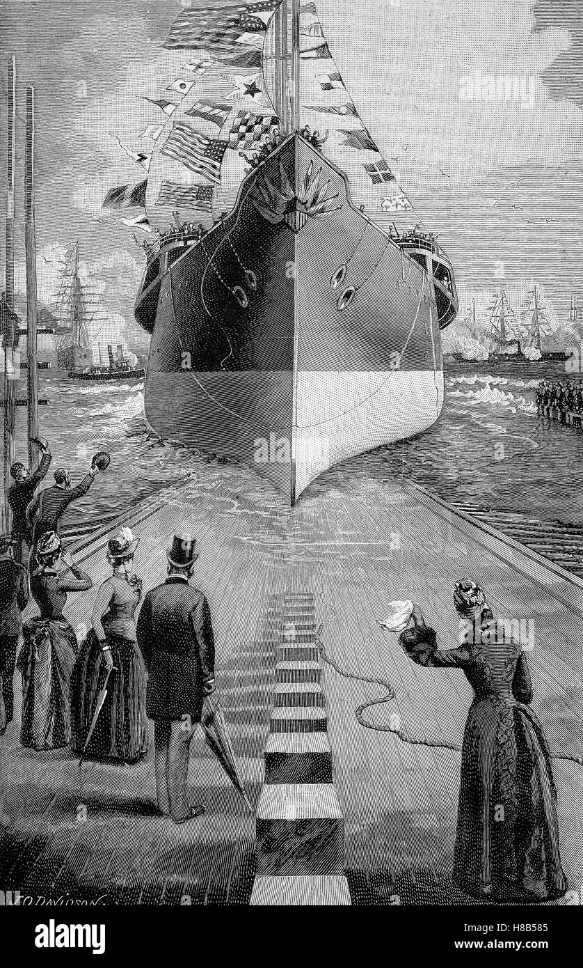 stack running of a warship, Woodcut from 1892 - Stock Image