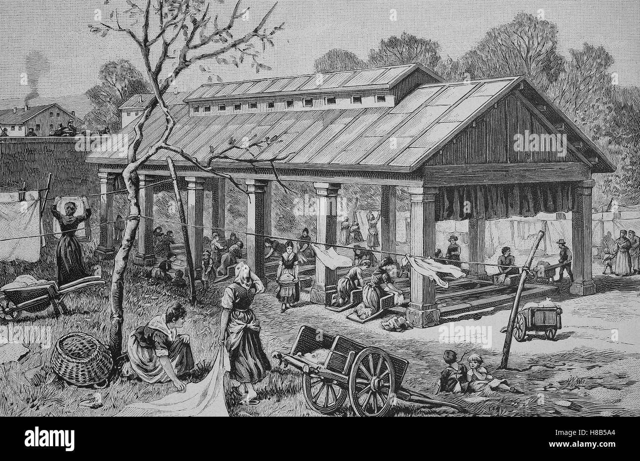 public wash house in Northern Italy, Woodcut from 1892 - Stock Image