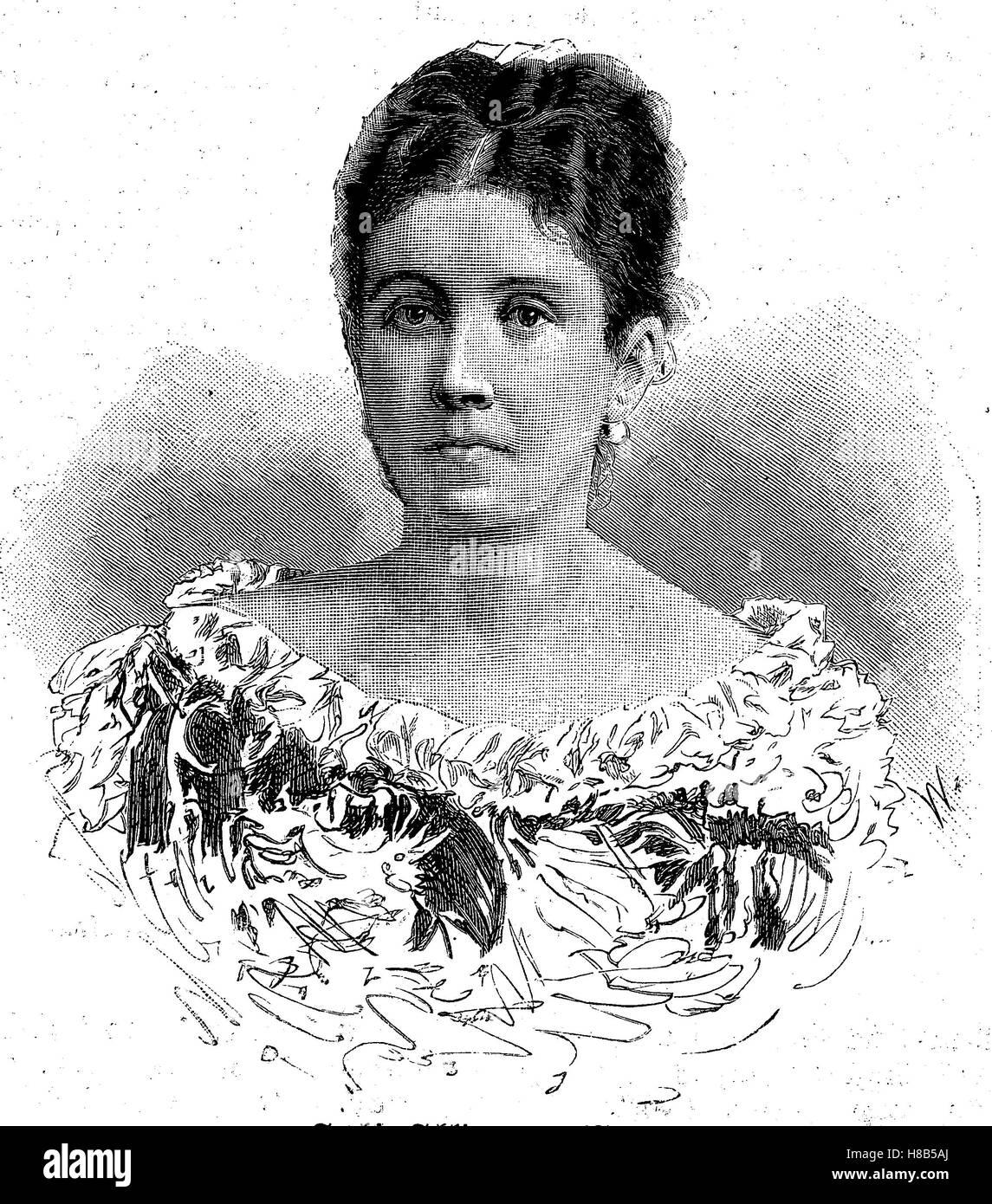 Sophie Schliemann, born Sophia Engastromenos, 1852-1932,, wife of Heinrich Schliemann, Woodcut from 1892 Stock Photo