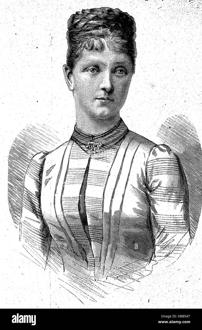 Archduchess Maria Theresa of Austria, born 1862, Woodcut from 1892 Stock Photo