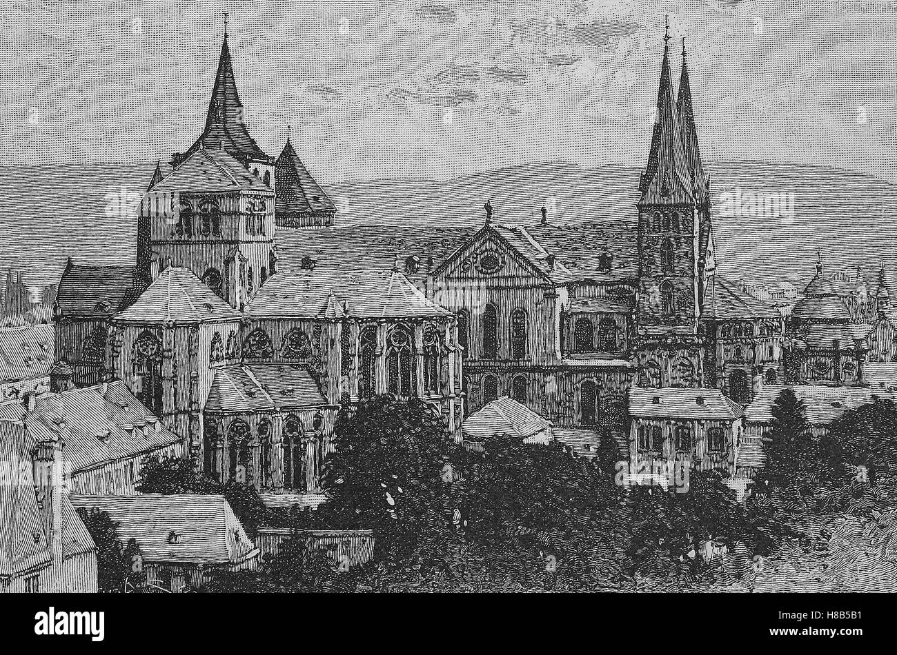 the cathedral of Trier, Germany, Woodcut from 1892 - Stock Image