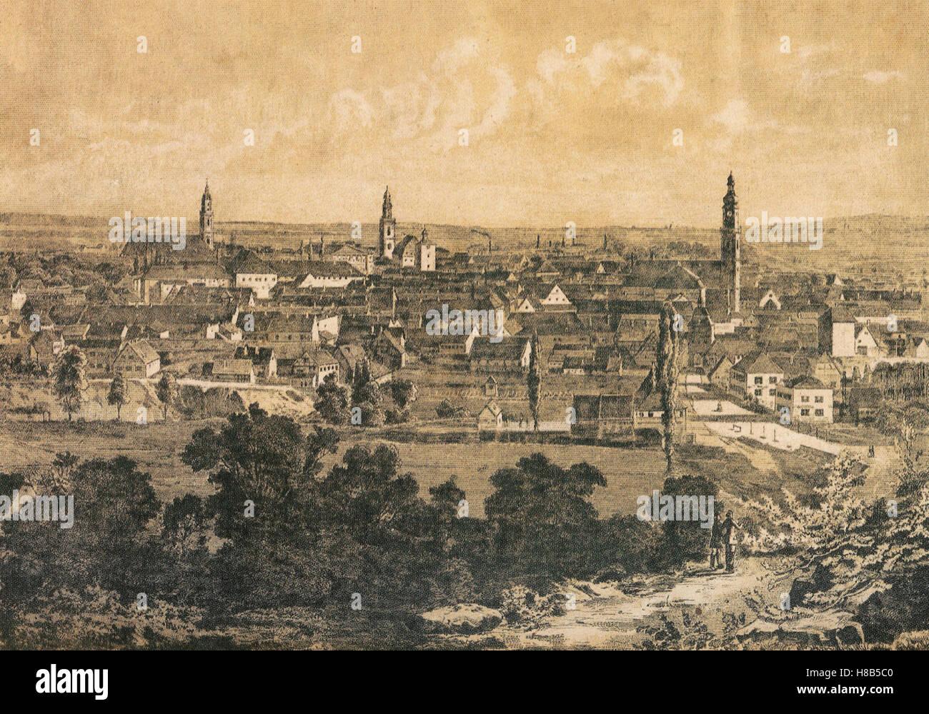 city of Erlangen, Bavaria, Germany, woodcut 1860 - Stock Image