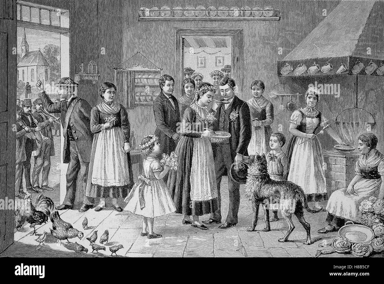 Wedding in Pomerania, Tradition: Bride Soup eating, Woodcut from 1892 - Stock Image