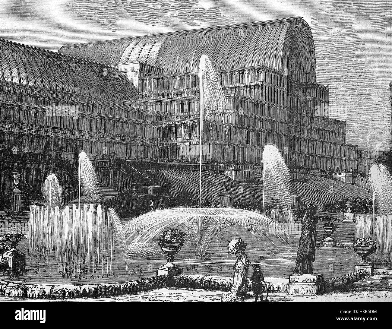 The Crystal Palace at Sydenham, London, Great Britain, Woodcut from 1892 - Stock Image