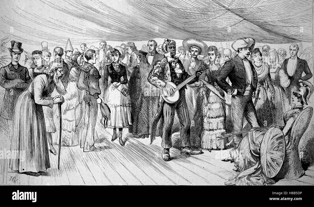 Masked Ball on board of a warship, Woodcut from 1892 - Stock Image
