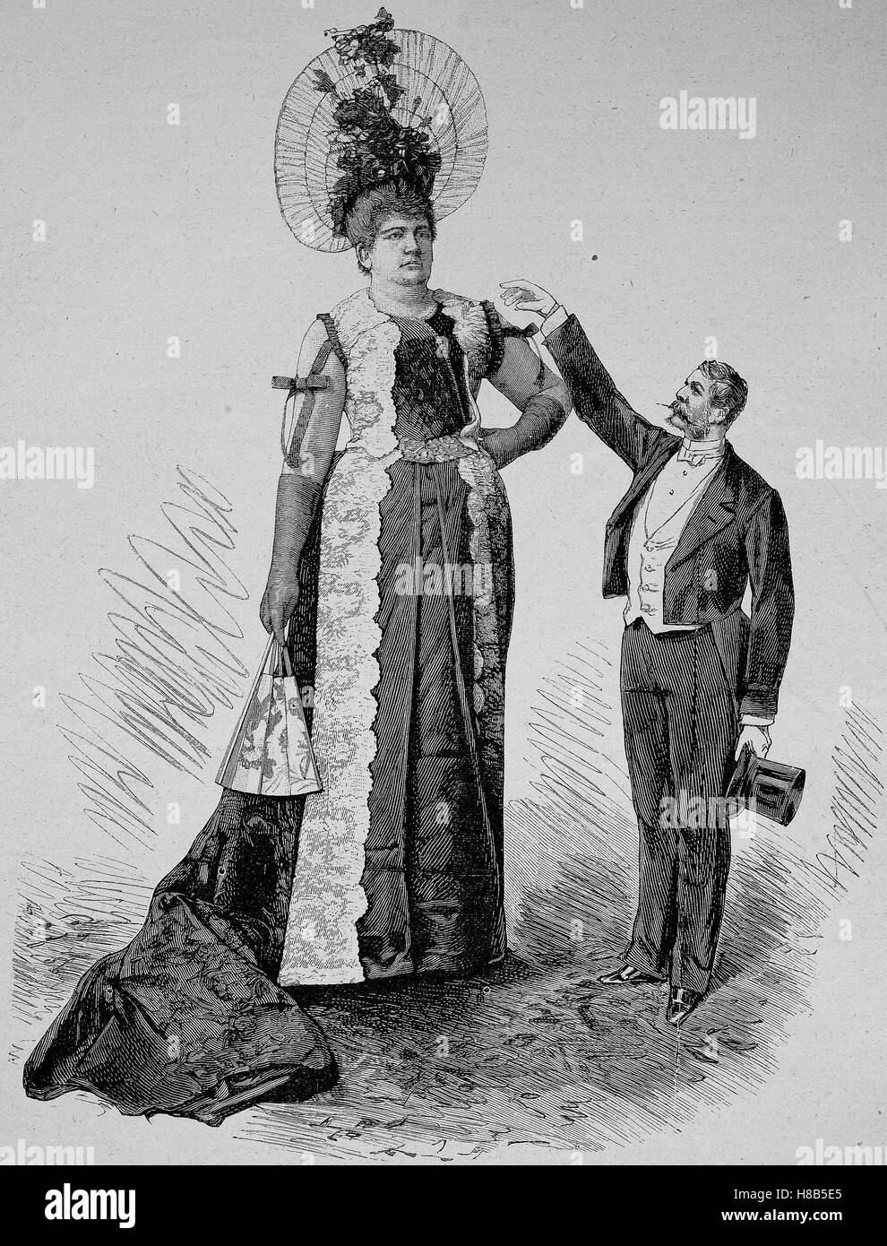 The Giantess Rosita The Greatest Lady In The World 216 Cm Tall Woodcut From 1892
