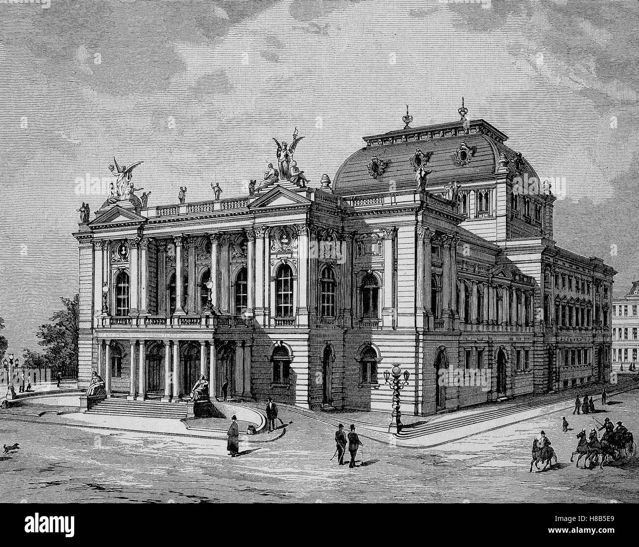 the new theater of Zurich, Switzerland, Woodcut from 1892 - Stock Image