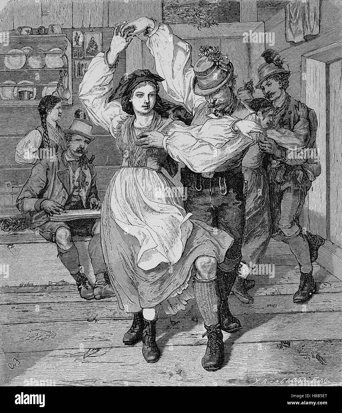 folk dance in Steyr, Austria, Woodcut from 1892 - Stock Image