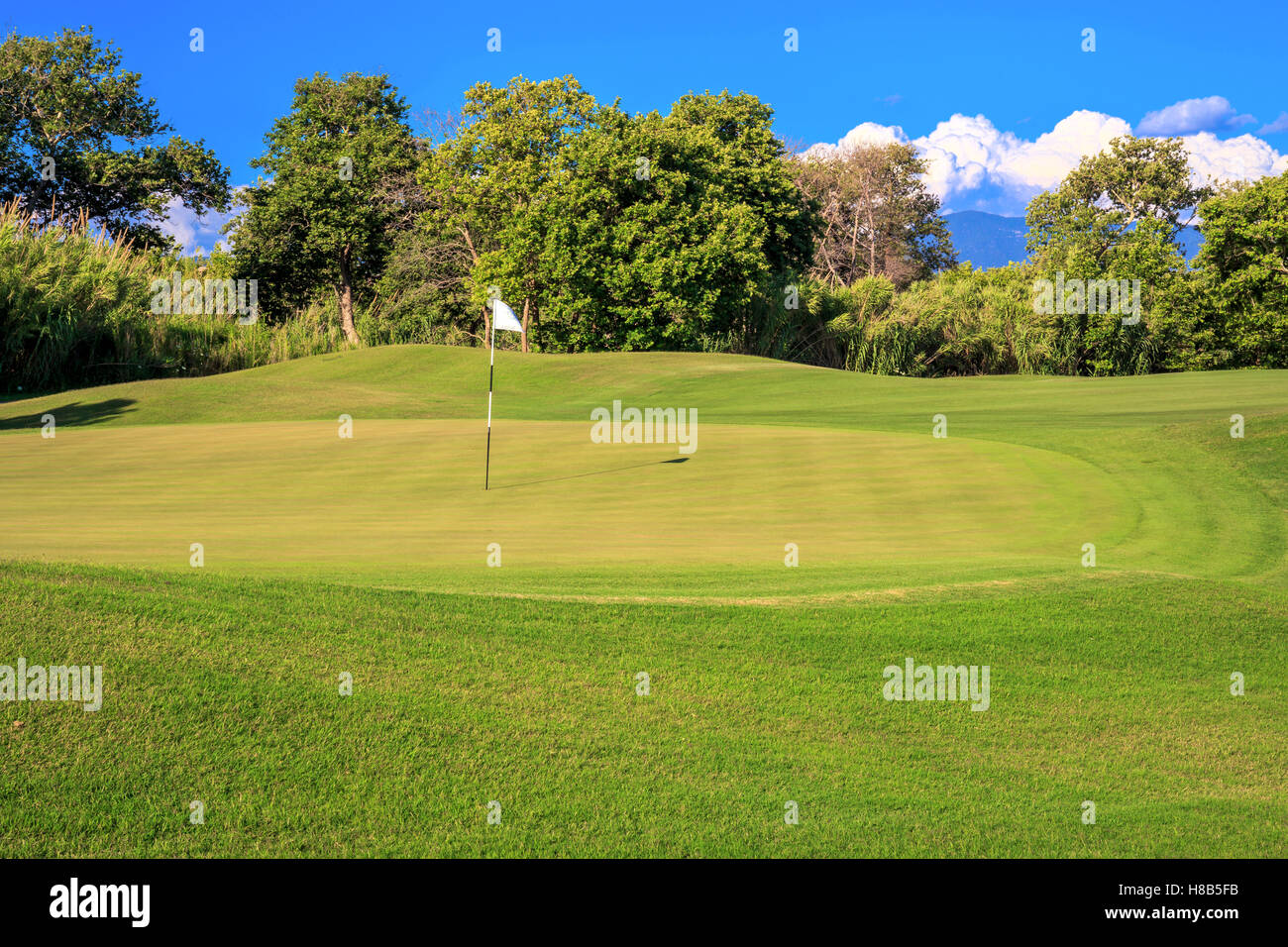 green golf course in a Greek resort, Peloponnese - Stock Image